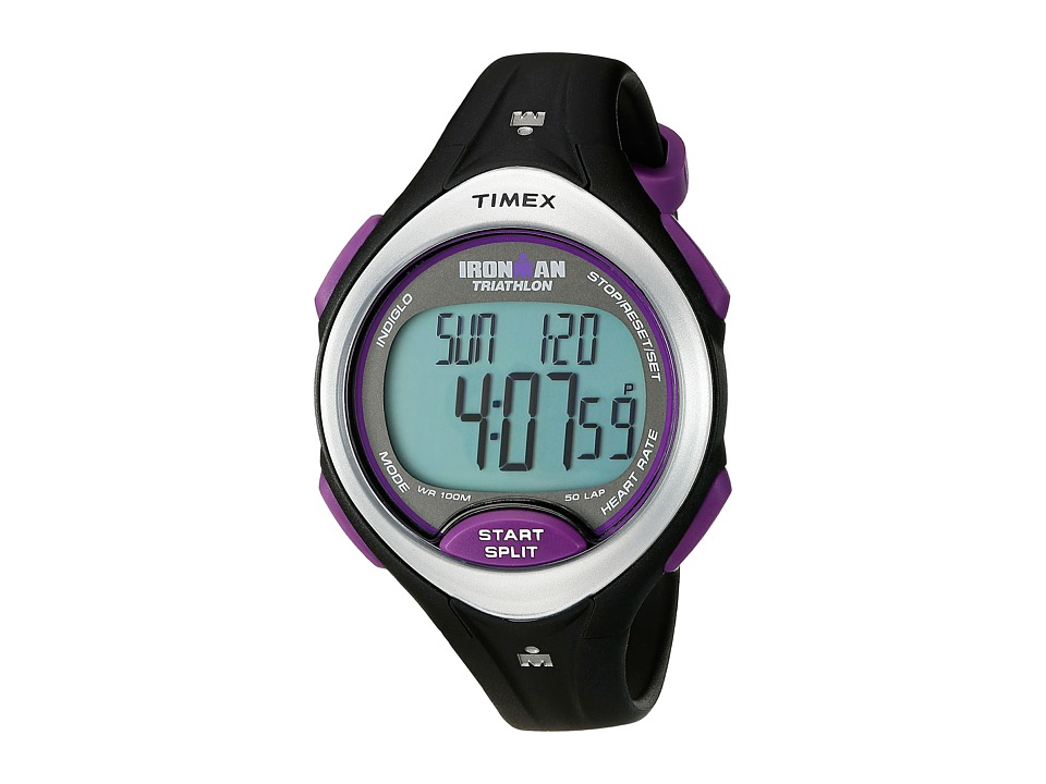 Timex - Ironman Road Trainer Heart Rate Monitor Black/Silver-Tone/Purple Resin Strap Watch (Black/Silver/Purple) Watches