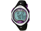 Timex - Ironman Road Trainer Heart Rate Monitor Black/Silver-Tone/Purple Resin Strap Watch