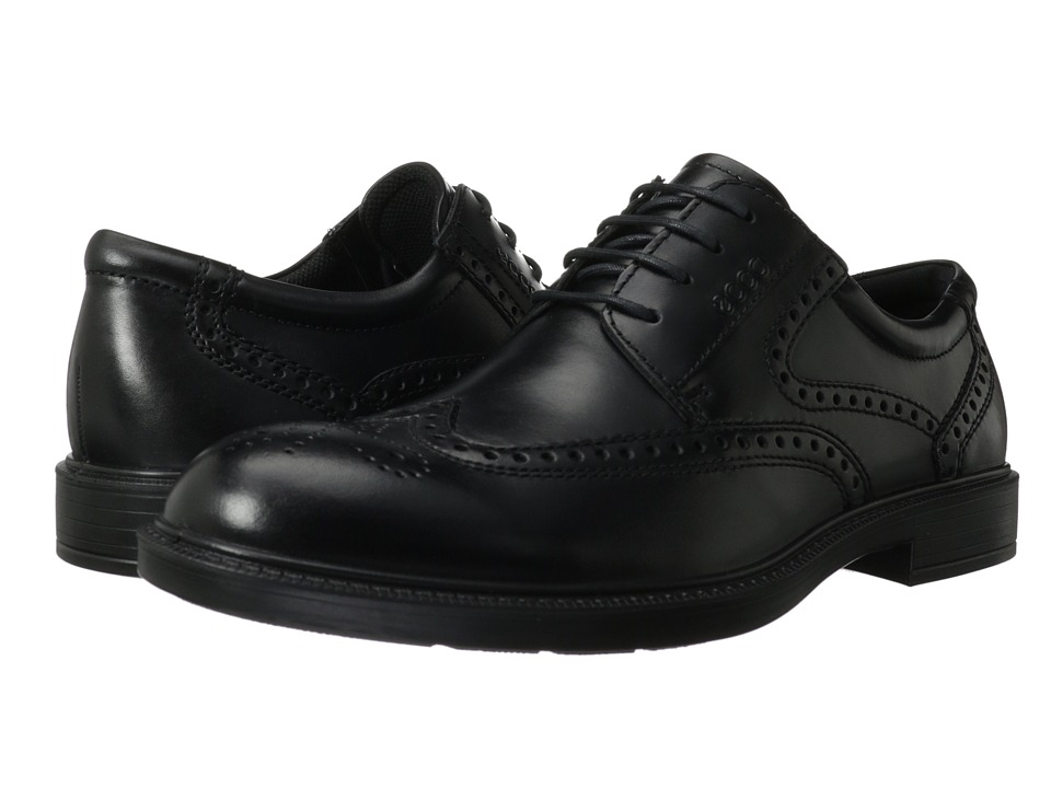 ECCO Atlanta Wing Tip Black Santiago Mens Shoes