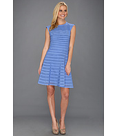 Halston Heritage - Cap Sleeve Flare Skirt Dress w/ Contrast Stripes