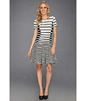 Halston Heritage - Short Sleeve Stripe Dress w/ Flare Skirt