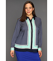 Vince Camuto - Plus Size L/S Button Down Medallion Border Shirt