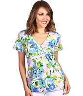 Caribbean Joe - Prima Bouquet S/S V-Neck w/ Weave Detail