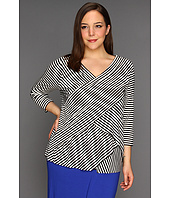 Vince Camuto - Plus Size 3/4 Sleeve Stripe Deep V-Neck Bandage Top