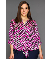 Vince Camuto - Plus Size Tie Front Button Down Rings Blouse