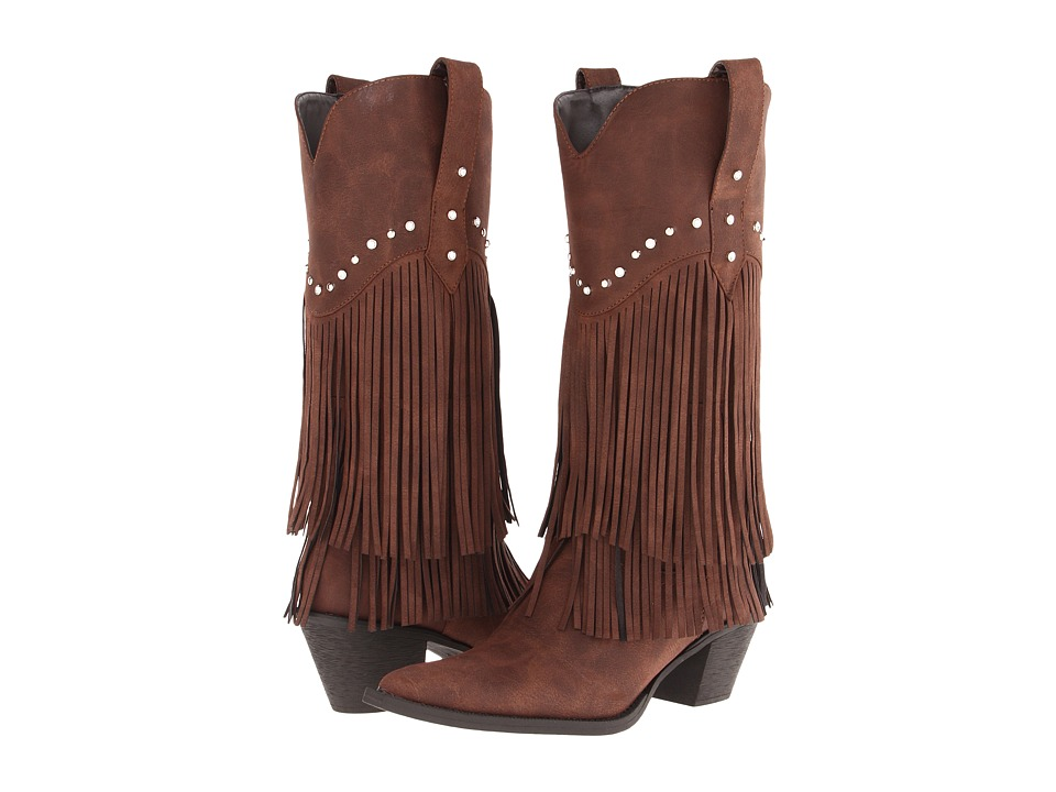 Roper 12 Stud and Fringe Boot (Brown/Crystal Stud) Cowboy Boots