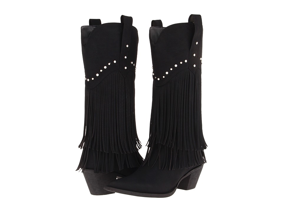 Roper 12 Stud and Fringe Boot (Black/Crystal Stud) Cowboy Boots