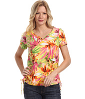 Caribbean Joe - Exotic Leaf Short Sleeve w/ Neck Gathers