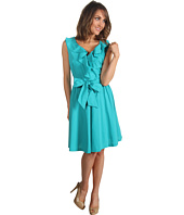 Suzi Chin for Maggy Boutique - 1-Piece Sleeveless Ruffle Neck Dress W/ Sash