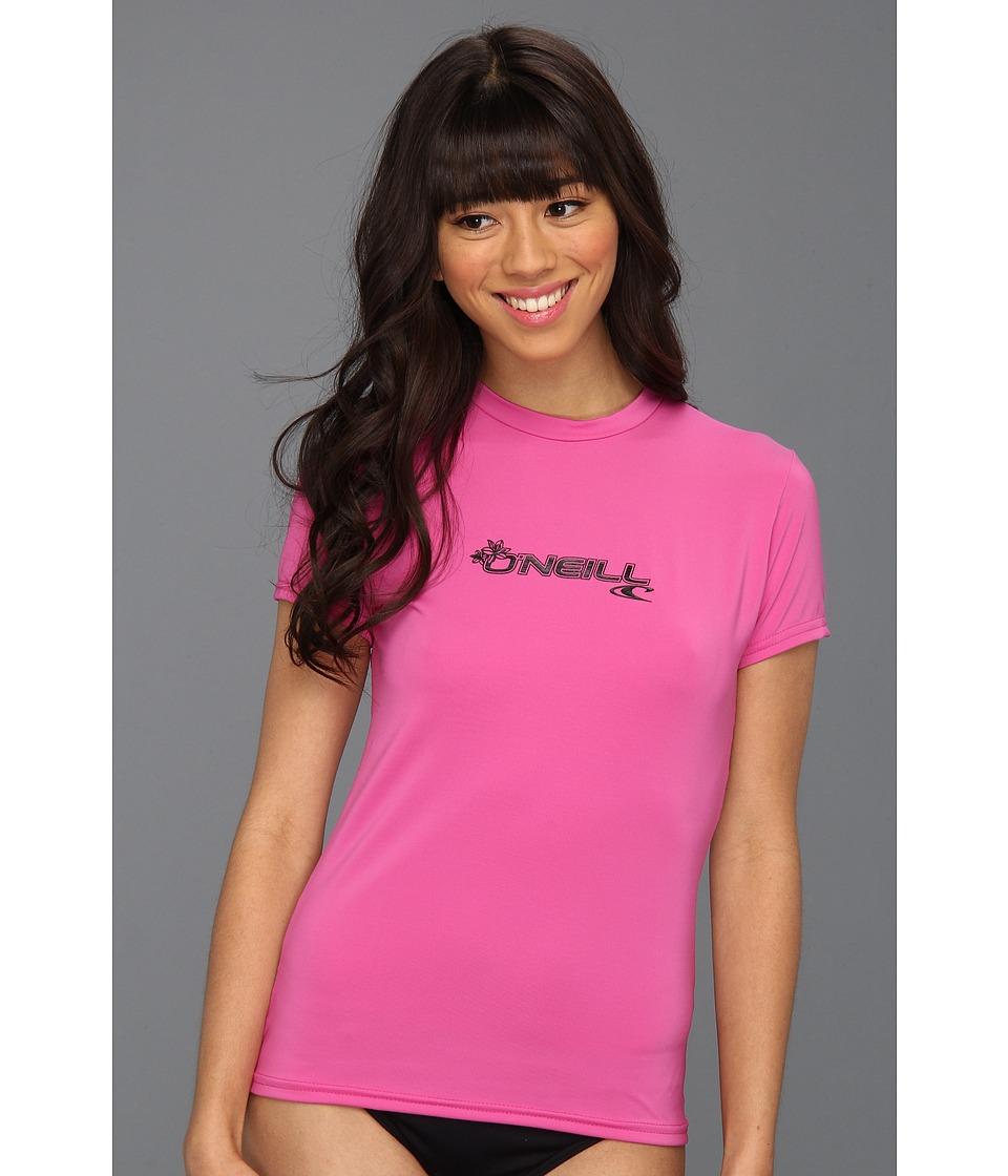 ONeill Basic Skins S/S Rash Tee Fox Pink Womens Swimwear