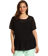 Vince Camuto - Plus Size Elastic Sleeve Swiss Dot Blouse