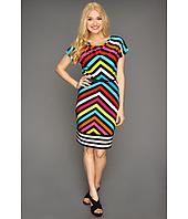 Calvin Klein - Chevron-Striped Cowl Neck Dress