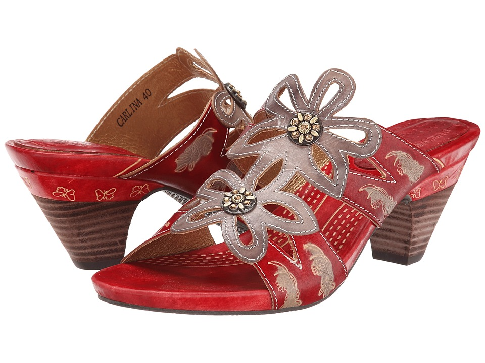Spring Step - Carlina (Grey/Red Leather) Women's Sandals
