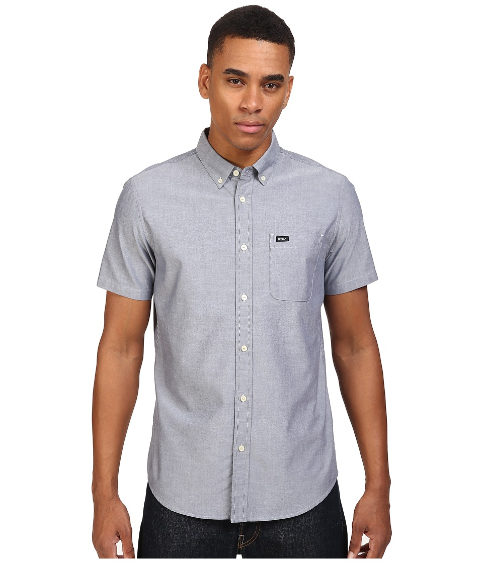 RVCA - Thatll Do Oxford S/S (Distant Blue) Mens Short Sleeve Button Up