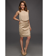 Vince Camuto - Chiffon Pleated Dress W/Satin Skirt