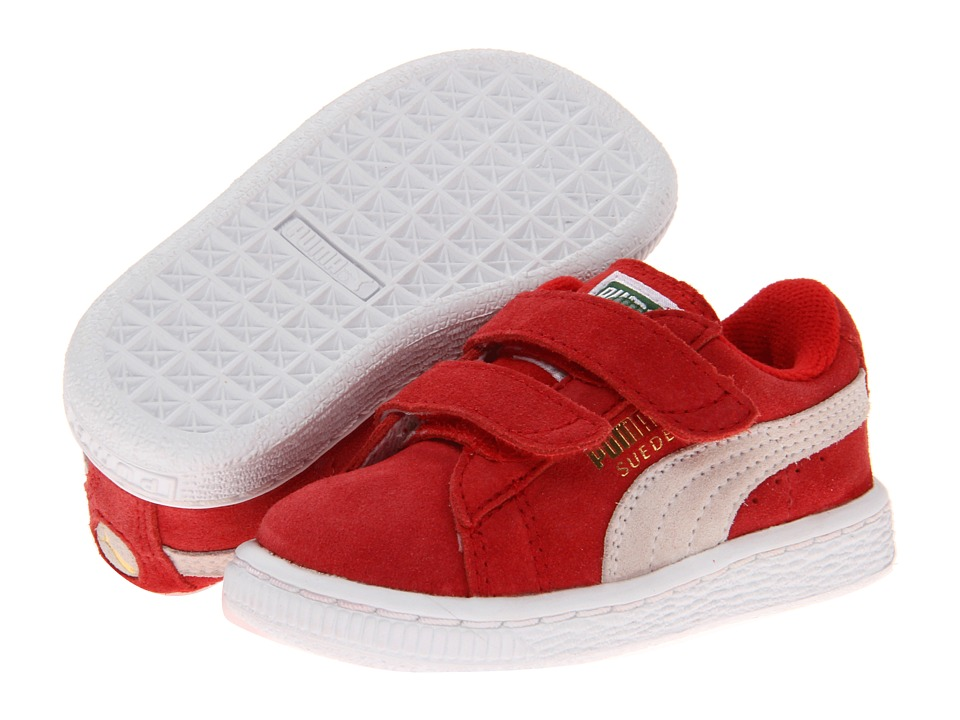 Puma Kids Suede 2 Straps (Toddler/Little Kid/Big Kid) (High Rick Red/White) Kids Shoes