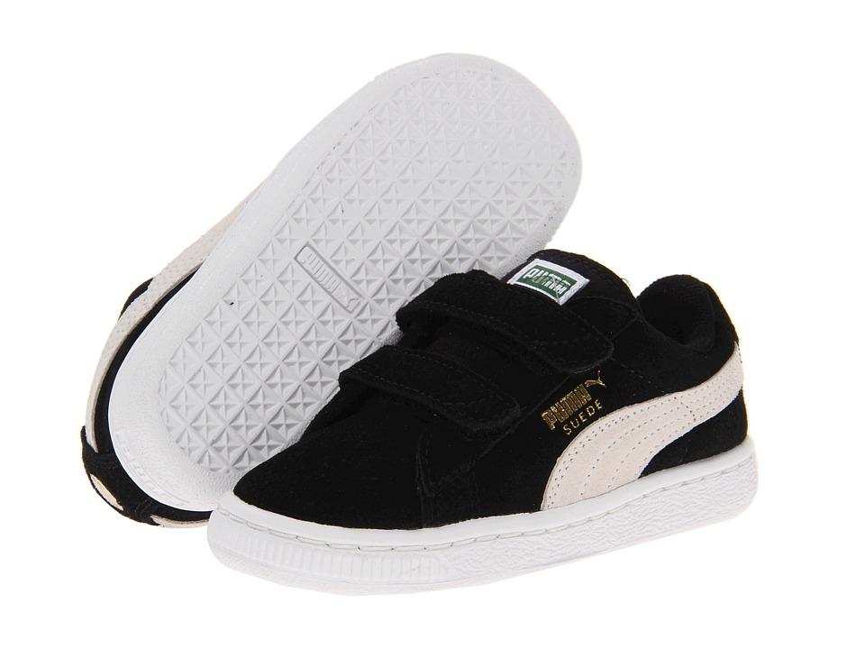 Puma Kids - Suede 2 Straps (Toddler/Little Kid/Big Kid) (Black/White) Kids Shoes