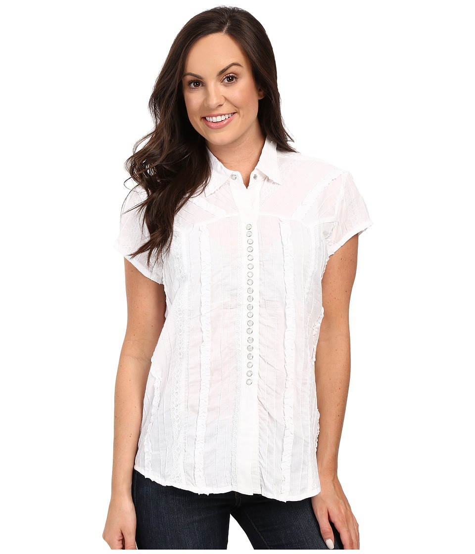 Scully - Honey Creek Lace Cap Sleeve Top W/ Flirty Snap Front (White) Womens Clothing
