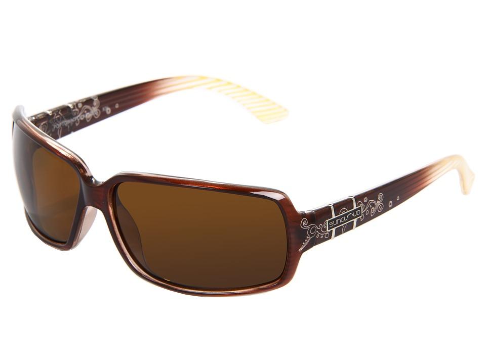 SunCloud Polarized Optics Poptown Brown Stripe Laser Sport Sunglasses