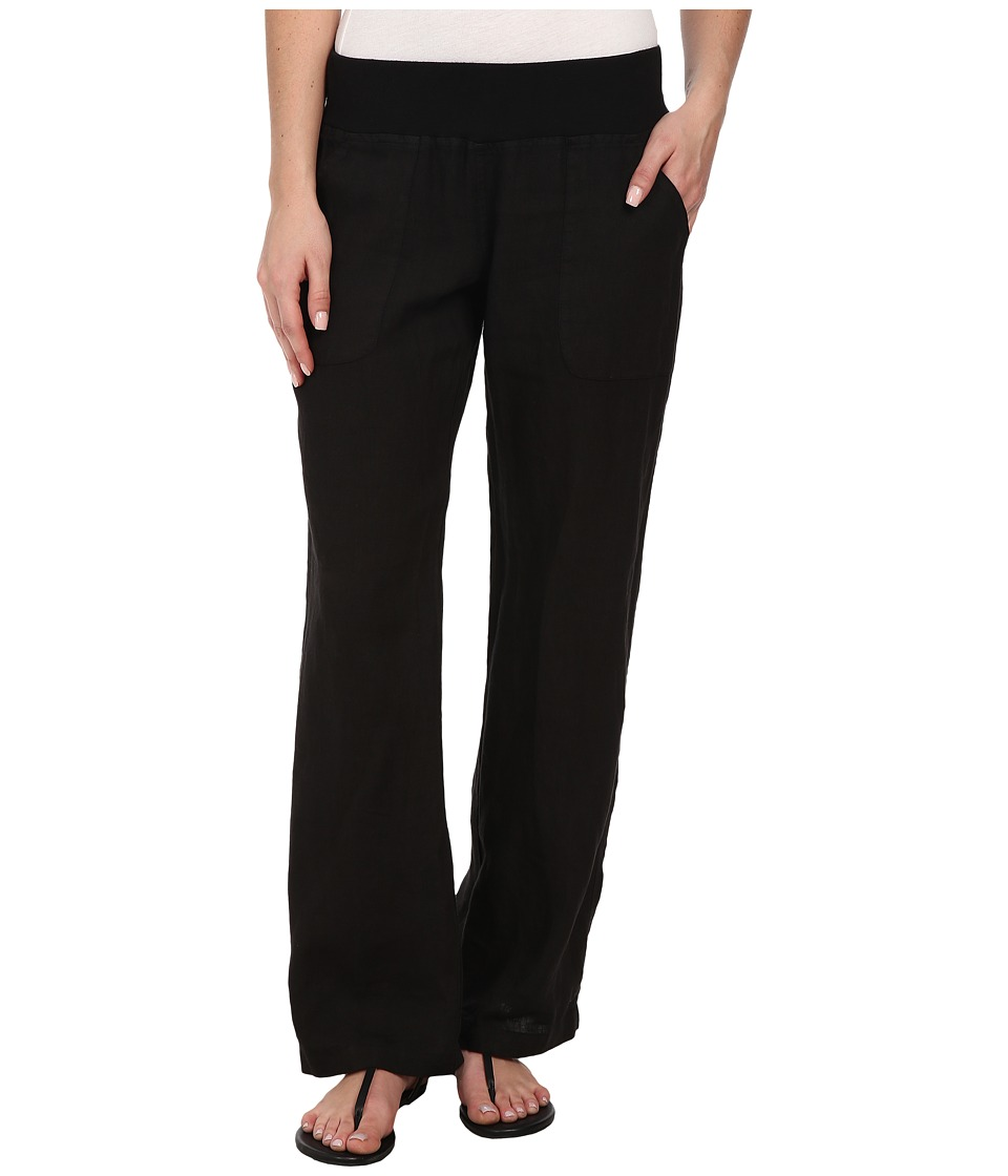 Allen Allen Linen Long Pant (Black) Women's Casual Pants