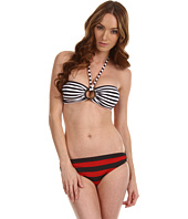 Michael Kors - Deck Stripe Bandeau Bikini w/Logo Ring Set