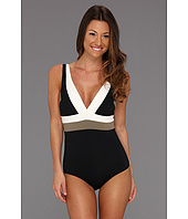 DKNY - Color Block V-Neck Maillot w/ Removable Soft Cups