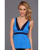 DKNY - Color Block V-Neck Tankini w/ Removable Soft Cups