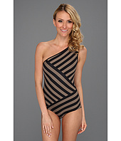 DKNY - Chic Stripes Spliced One Shoulder Maillot w/ Removable Soft Cups