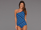 Chic Stripes Spliced One Shoulder Maillot w/ Removable Soft Cups