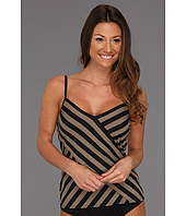 DKNY - Chic Stripes Spliced Tankini w/ Removable Soft Cups