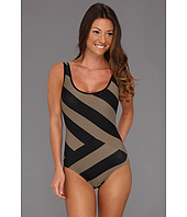 DKNY - Chic Stripes Spliced Scoop Back Maillot w/ Removable Soft Cups
