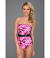 MICHAEL Michael Kors - Chatsworth Floral Color Block Bandeau Maillot w/ Removable Soft Cups, Strap & Belt
