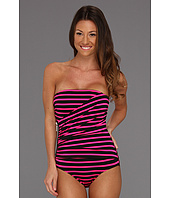 MICHAEL Michael Kors - Jardin Stripe Shirred Zipper Bandeau Maillot w/ Removable Soft Cups & Strap