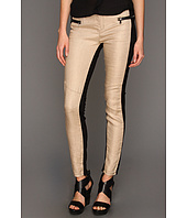 Blank NYC - The Spray On Super Skinny Linen Black & Beige in Fan Tan
