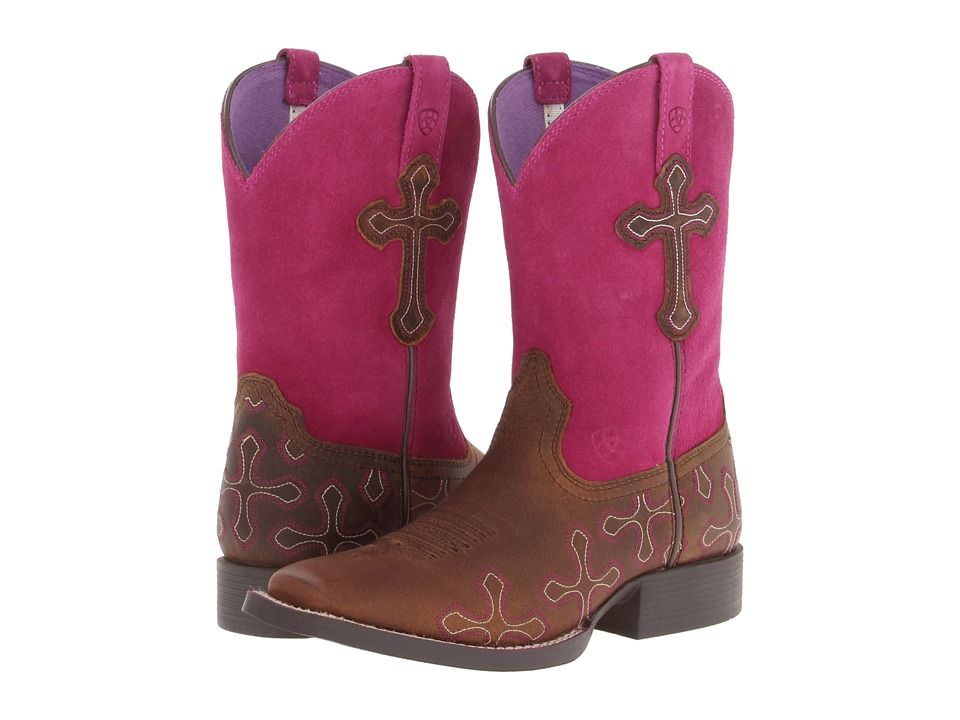 Image of Ariat Kids - Crossroads Distressed (Toddler/Little Kid/Big Kid) (Brown/Fuchsia) Cowboy Boots