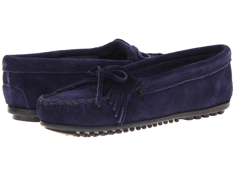 Minnetonka Kilty Suede Moc Hardsole Navy Suede Womens Moccasin Shoes