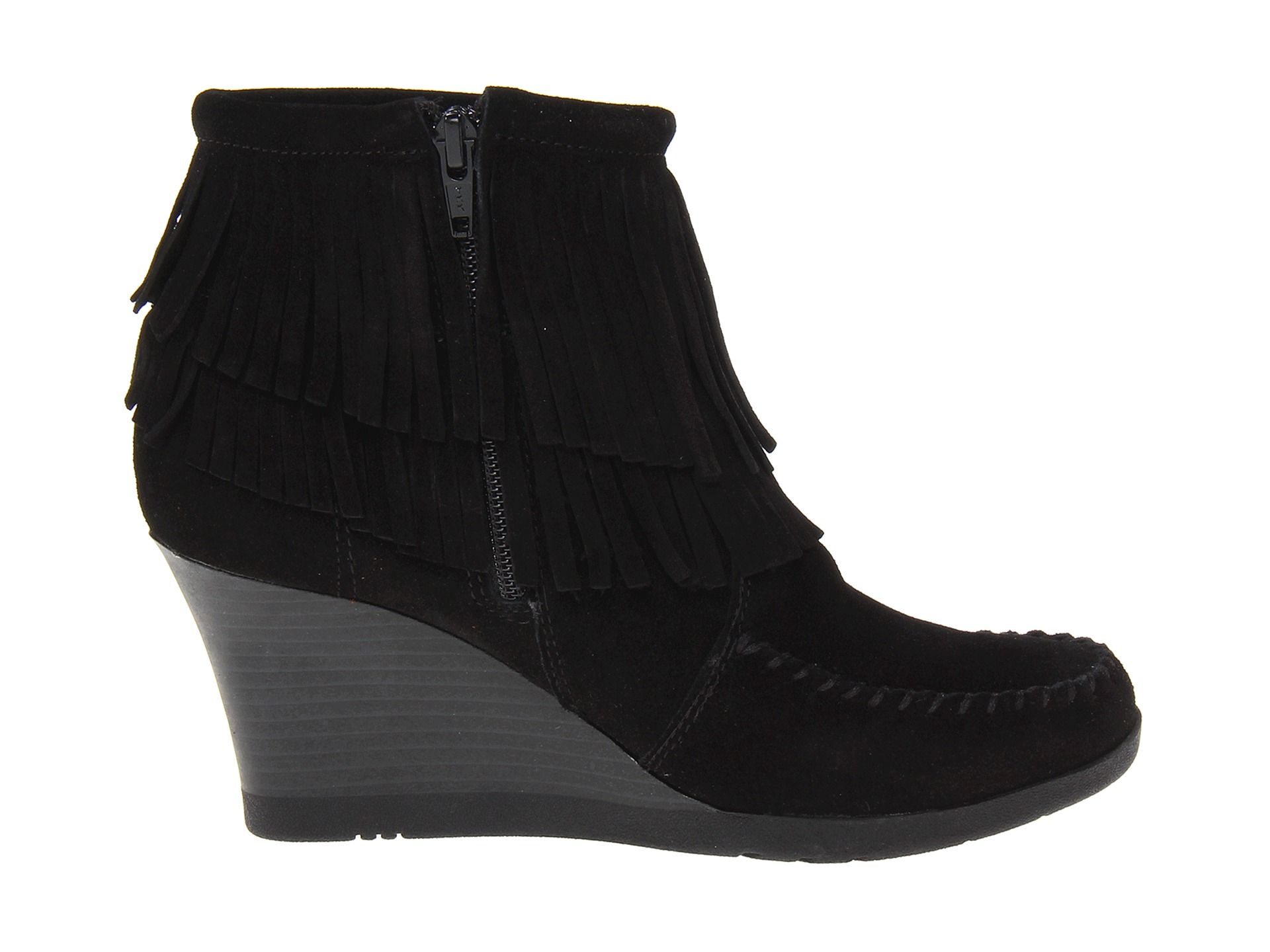 minnetonka fringe ankle wedge boot black suede