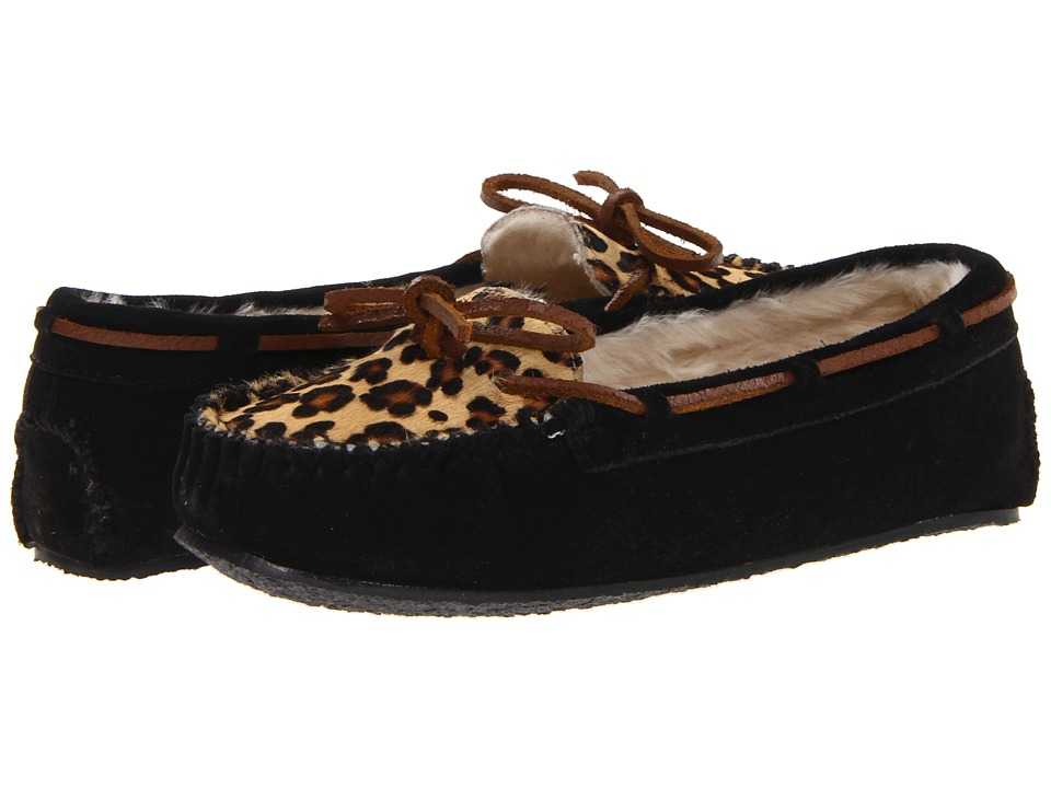 Minnetonka - Leopard Cally Slipper (Black Suede) Womens Slippers