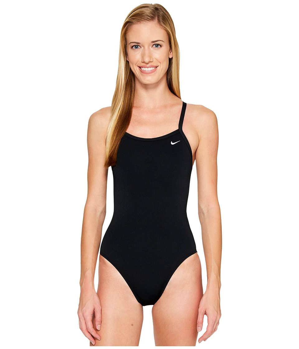 Nike - Solid Poly Lingerie Tank One Piece (Black) Womens Swimsuits One Piece