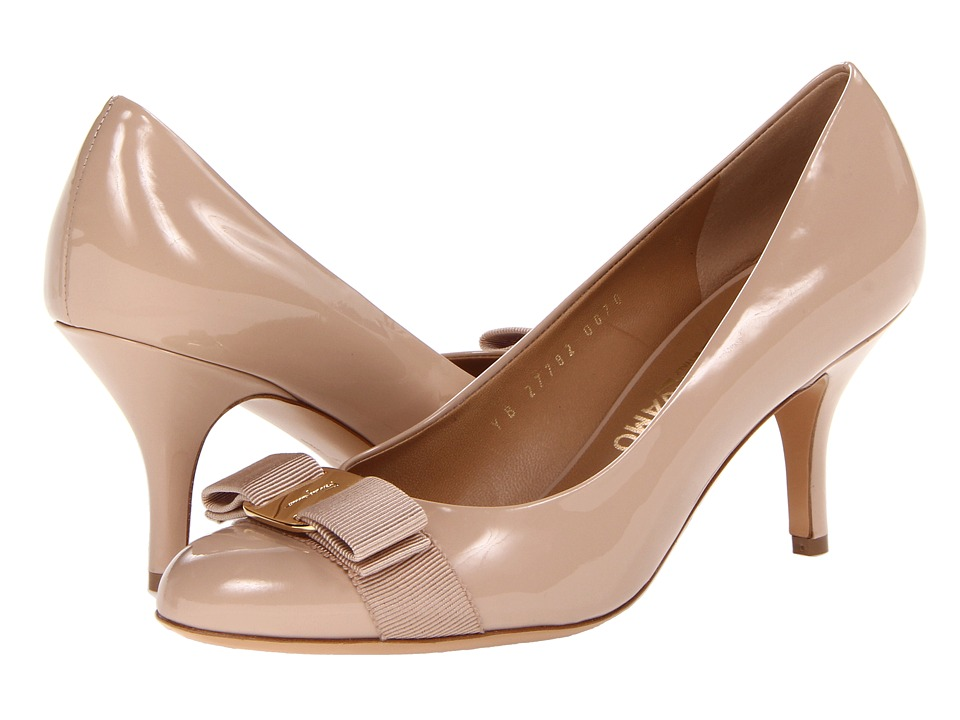 Salvatore Ferragamo Carla (New Bisque Patent) High Heels
