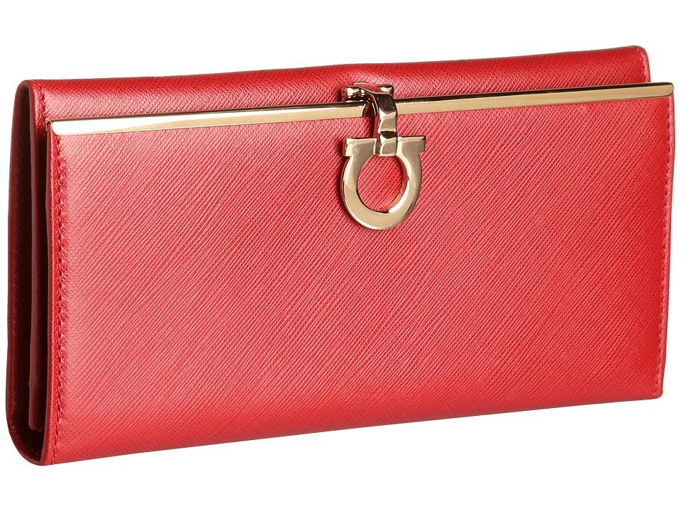 Salvatore Ferragamo - 4633 Icona Continental Wallet (Rosso Tissu Soft) Wallet Handbags