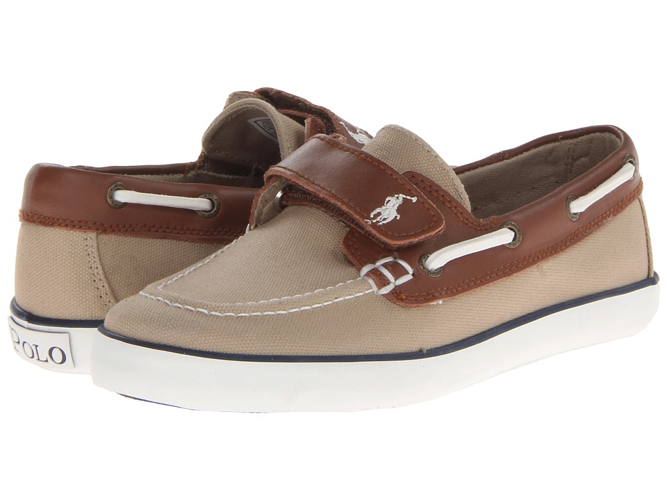 Polo Ralph Lauren Kids - Sander-CL EZ (Little Kid) (Khaki Canvas/Tan Leather) Boys Shoes