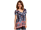 China Blue Border Print Top