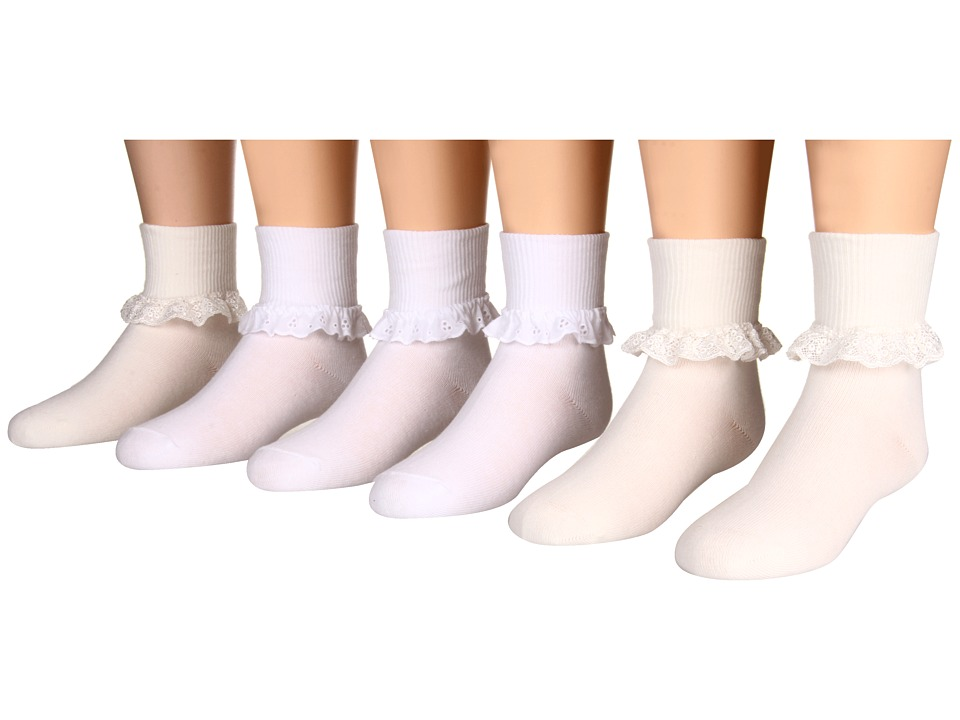 Jefferies Socks Eyelet Lace and Chantilly Lace 6 Pack Toddler/Little Kid/Big Kid Asst A 3 White 3 Pearl White Girls Shoes