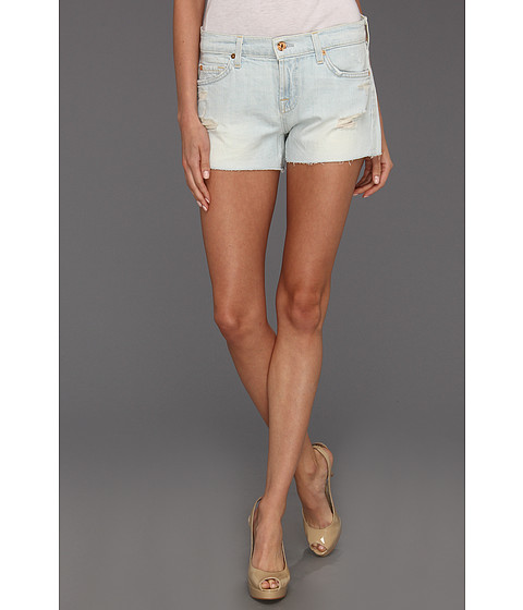 Cheap 7 For All Mankind Cut Off Short In Distressed Light Distressed Light