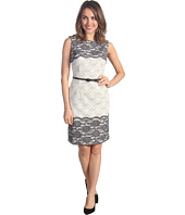 Maggy London - Jacquard Sheath Dress With Lace Trim