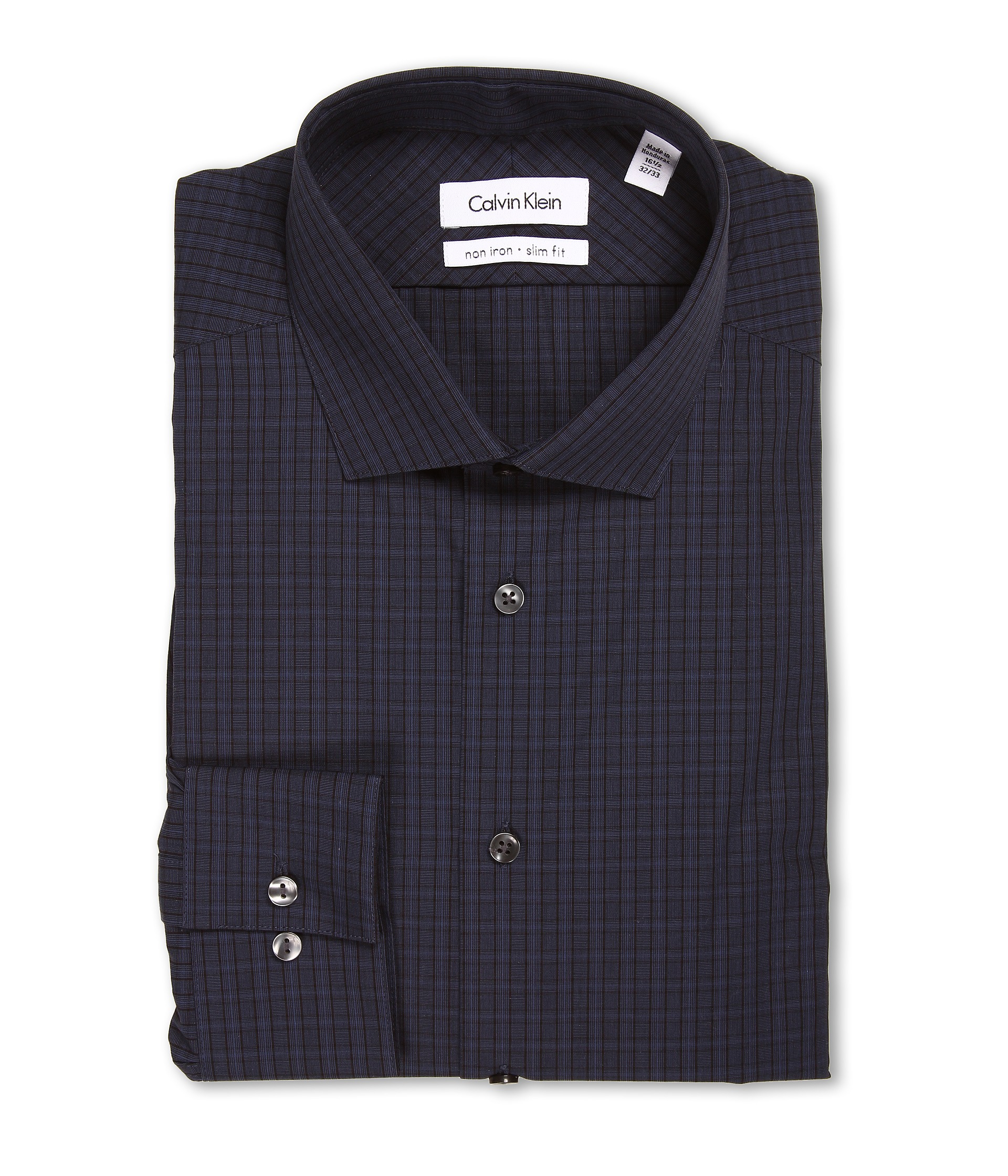 Calvin klein non iron slim fit basketweave plaid dress for Calvin klein x fit dress shirt