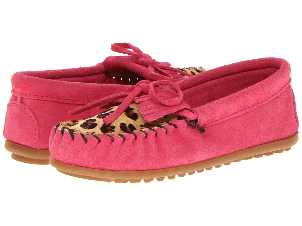 Minnetonka Kids Leopard Kilty Moc Toddler/Little Kid/Big Kid Hot Pink Suede Girls Shoes