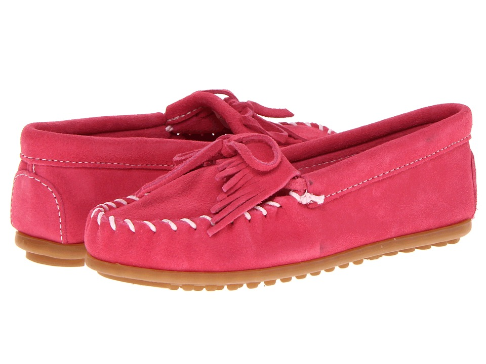 Minnetonka Kids Kilty Suede Moc Toddler/Little Kid/Big Kid Hot Pink Suede Kids Shoes