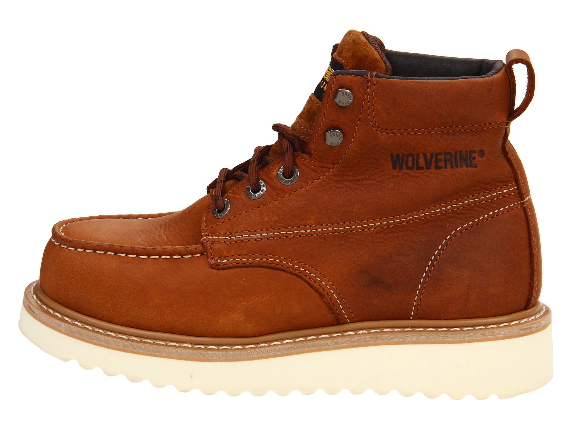 wolverine moc toe wedge heel steel toe at zappos